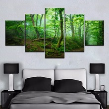 Framed HD 5 Panel Green Tree Forest Path Picture Cuadros Landscape Canvas Wall Art Home Decor For Living Room Painting
