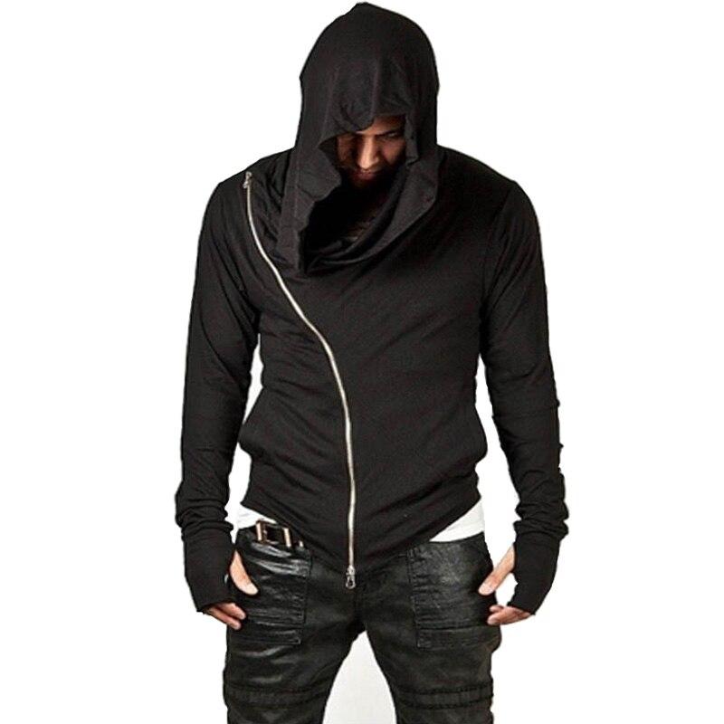Top 2017 de Alta Streetwear Hombres de Hip Hop de Moda Diseño de La Cremallera Lateral Con Capucha Sudaderas Homme Sudaderas Ropa Deportiva de Algodón Negro H07