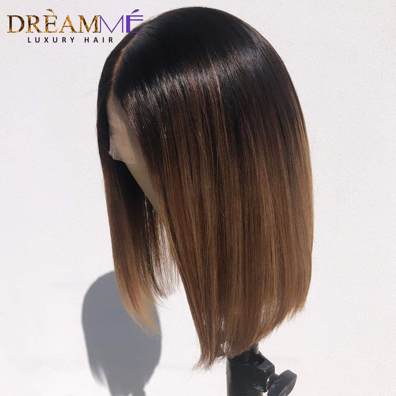 Short Ombre Human Hair Wigs Pre Plucked Bob Lace Front Wig For Black Women Deep Part