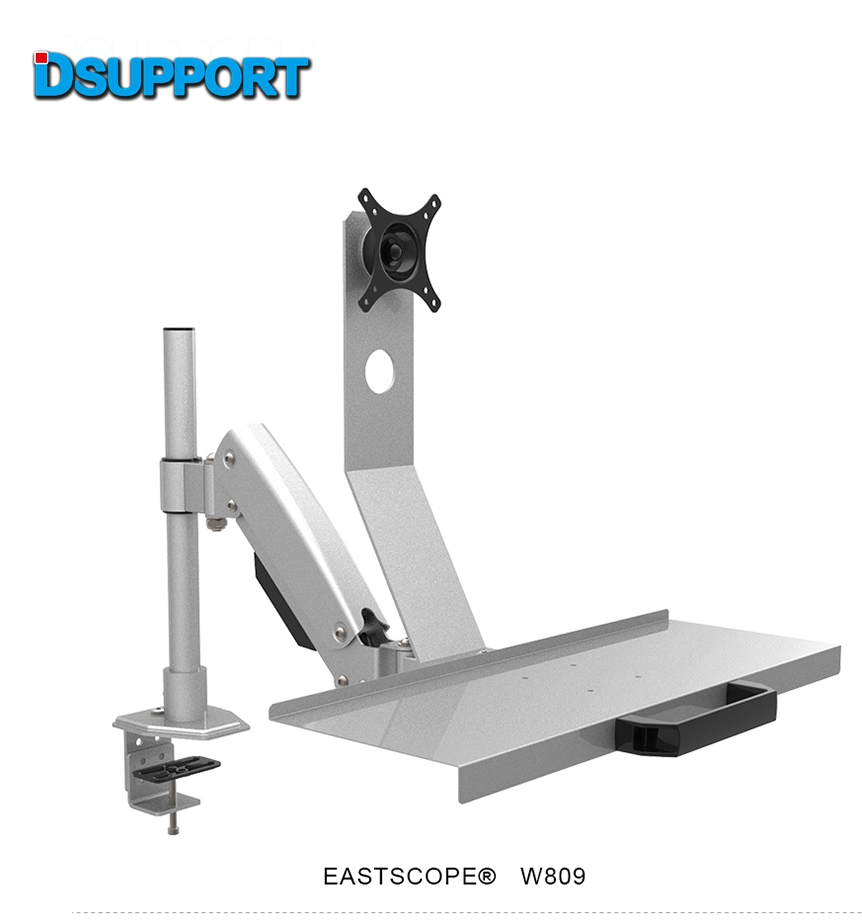 W809 Desktop Mount Full Motion Gas Spring Arm Computer Monitor Keyboard Mount Holder Stand Sit-Stand Workstation