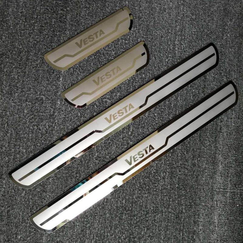 For LADA VESTA 2015-2018 Car Door Sill Trim Cover Chromiun Stainless Steel Door Sill Scuff Plates for Vesta Cross Concept 2018