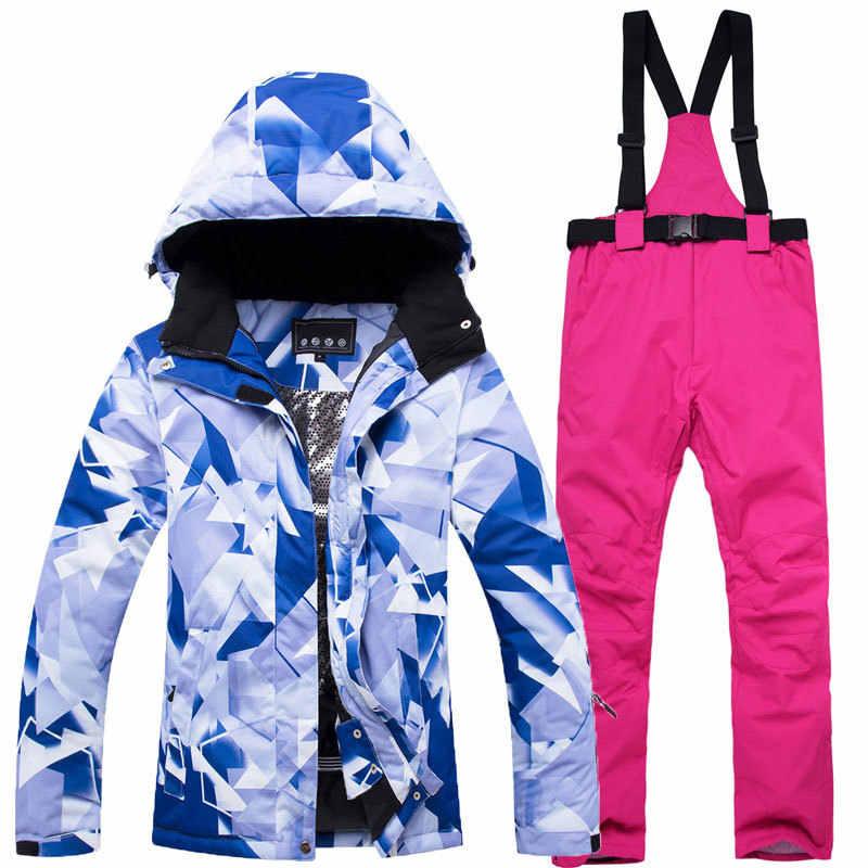 Tebal Hangat Ski Suit Wanita Tahan Air Windproof Ski dan Snowboarding Jaket Celana Set Wanita Salju Kostum Outdoor Wear