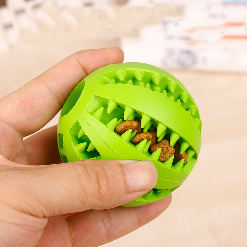OnnPnnQ Rubber Pet Dog Cat Toy Ball Chew Treat Holder Tooth Cleaning Ball Food Dog Puppy Ball Training Interactive Pet Supplies7