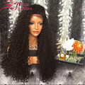 180 Densidade Peruano Cheia Do Laço Perucas de Cabelo Humano Kinky Curly Lace frente Perucas de Cabelo Humano Glueless Perucas Cheias Do Laço Com Cabelo Do Bebê