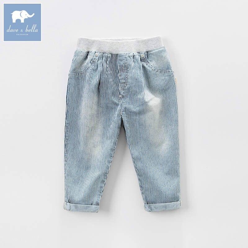DB6953 dave bella spring baby boys fashion denim striped jean kids pants children boutique trousers boys ribbed striped pants