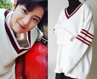 Aganmi New KPOP EXO Chan Yeol The Same BF Style Oversize Splice V Neck Sweatershirt Hit