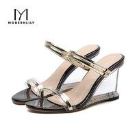 Wedges Heels Sandals Women Summer Stripper Shoes Sexy Clear High Heels Jelly Sandals Women Sandalias Mujer