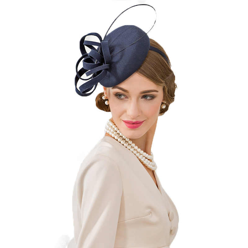 4fcf8b91e1106 FS Royal Navy Blue Ladies Hat For Weddings Pillbox Fascinator Wool Women  Fedoras Vintage Cocktail Tea Party Derby Church Hats