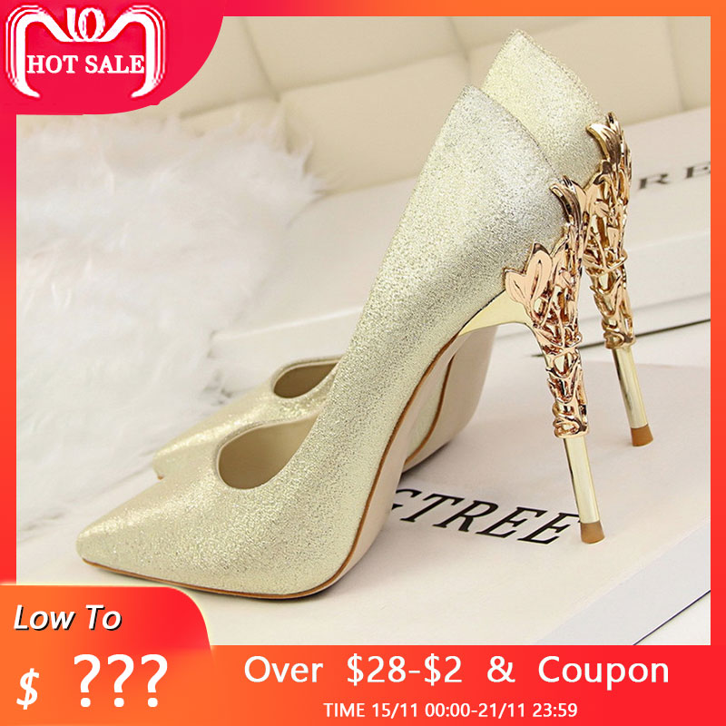 9cfd1ff66 Sexy Women High Heels Silver Pumps Wedding Shoes bride ladies Heels Party  Dress Shoes Woman High Heel Zapatos Mujer Tacon