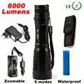 6000LM CREE XML T6 High Power LED Фонарик Алюминиевый LED Фонарик Масштабируемые Факел Проблескового Света Лампы + Зарядное Устройство + Аккумулятор + кобура Держатель