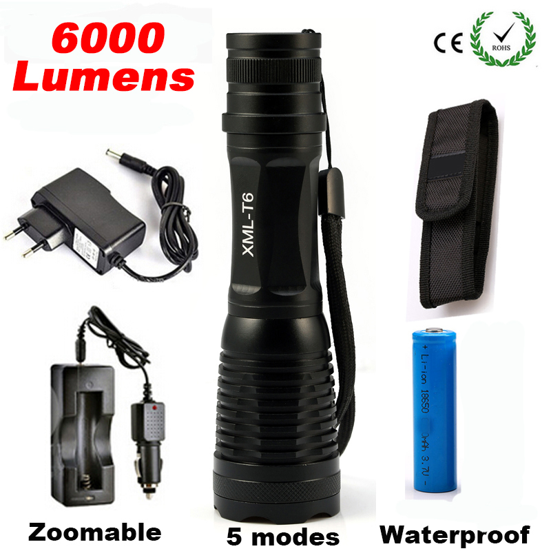 6000LM CREE XML T6 High Power LED Flashlight Aluminum LED Torch Zoomable Flash Light Torch Lamp+Charger+ Battery+Holster Holder led flashlight torch e17 cree xm l t6 3800 lumens high power focus lamp zoomable light with one battery charger and sleeve