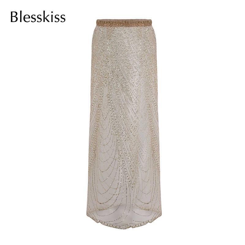 BLESSKISS スパンコールビーチカバーアップドレス女性夏セクシーな透明な水着水着ビキニカバー水泳スカート