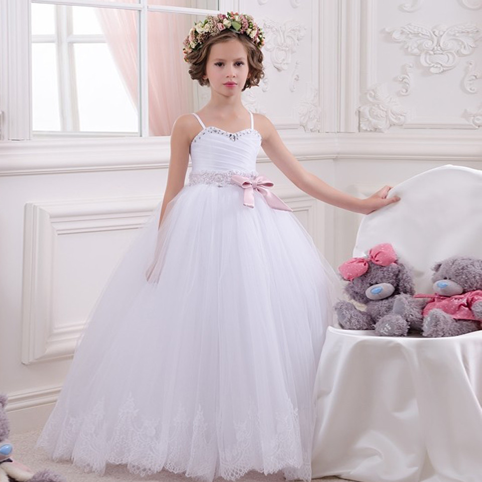 New Customized Flower Girl Dress for Wedding Spaghetti Strap Beading Bow Girls Birthday Party Gown Pageant Dress alluring spaghetti strap hollow out dress for women