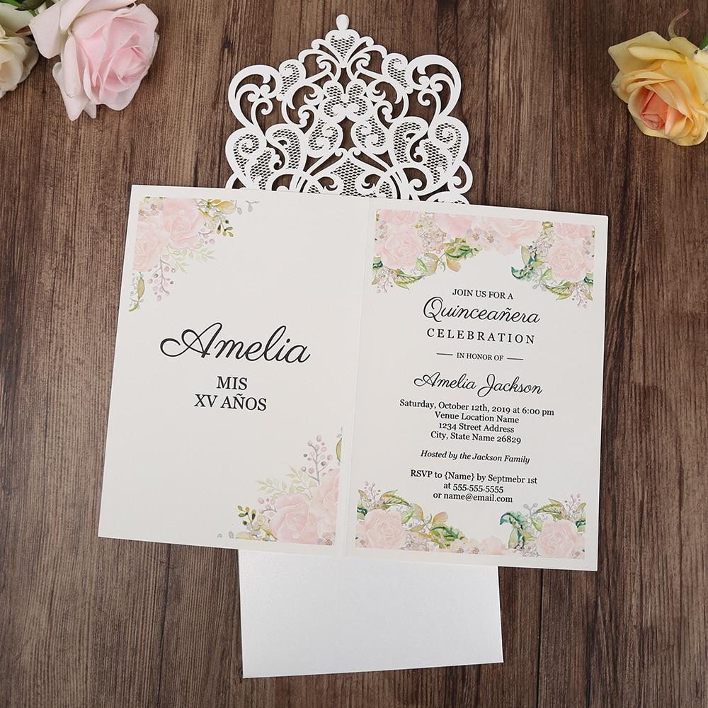 100 Pcs Vertical White Wedding Invitations Anniversary