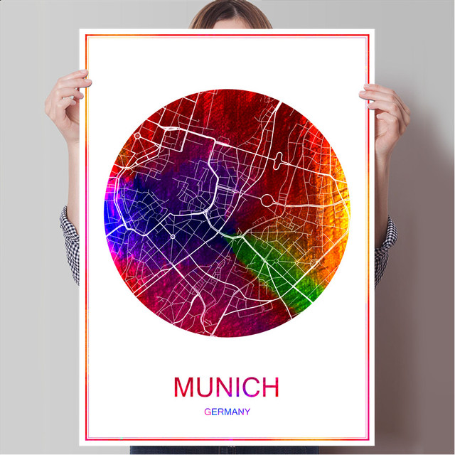 Munich germany world famous city map print poster print on paper or canvas wall sticker bar