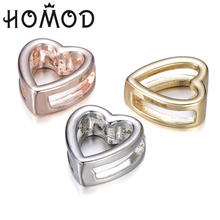 HOMOD New Hollow Love Heart Shaped Slide Charms Fits for Brand Bracelet Stainless Steel Mesh Bracelets Making Accessories new design 2019 hot silver mesh keeper bracelet with heart anchor slide charms stainless steel brand bracelets for women