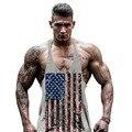 Фитнес undertale Америка флаг спортивные залы clothing gymshark бодибилдинг майка мужчины рукавов рубашки жилет большой плюс размер 2xl