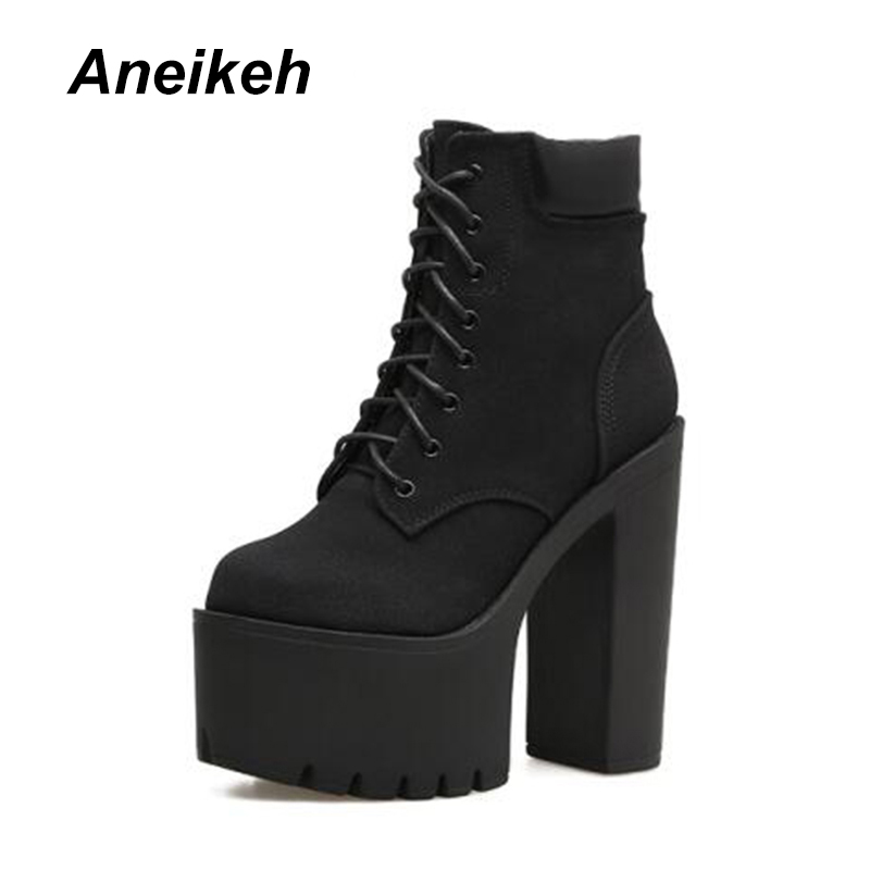 Fashion Autumn Winter Women Shoes Ankle Boots High Heels 15CM Platform Lace-Up Riding Equestrian Boots Aneikeh Size 34 -39 Black