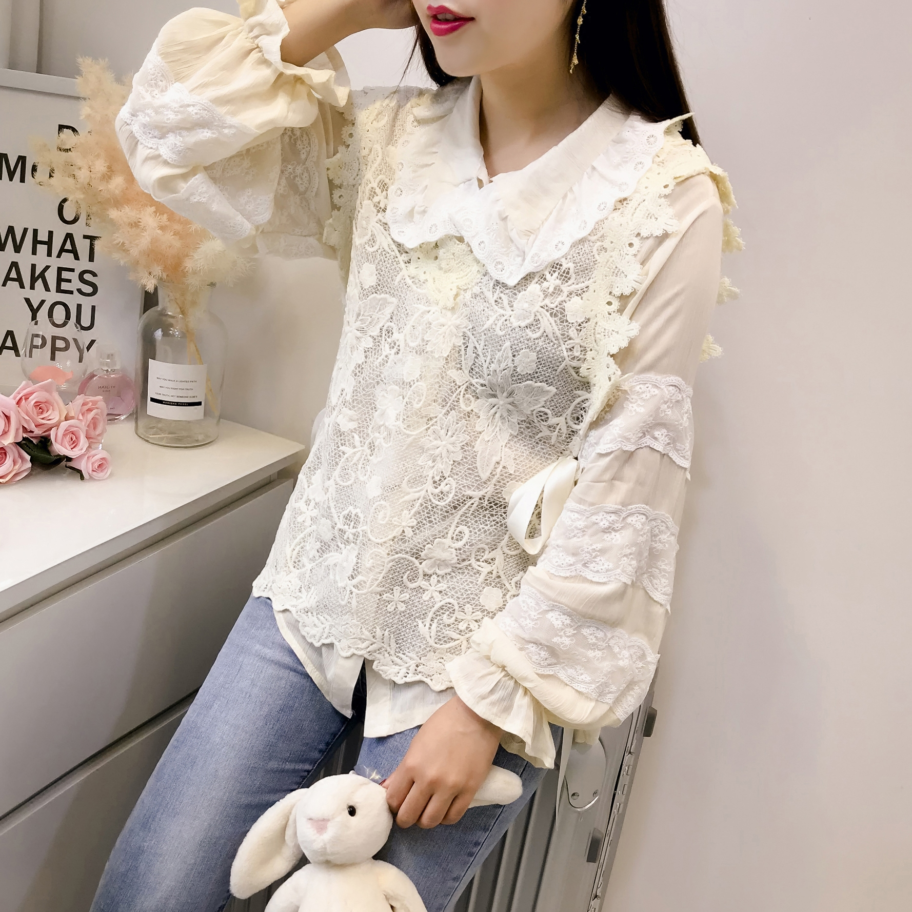 New European goods 2018 spring shirt thin Ulzzang Lace Baby Sweater