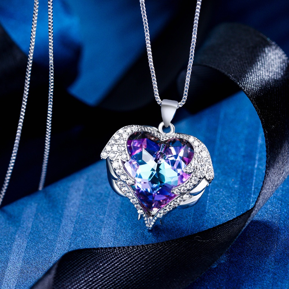 Bella Crystal Ring Chandelier: Bella Fashion Love Heart Bridal Necklace Pendant Cubic