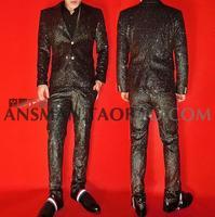 Горячий корейский Новый мужской свадебный костюм ночной клуб бар певец флэш черный Жаккардовый жакет костюмы сценические костюмы Slim Fit муж
