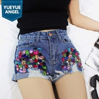2019 Summer Embroidered Flares Denim Shorts Women Hole Ripped Tassel Diamonds Short Jeans Streetwear White Blue Zip Hot Pants