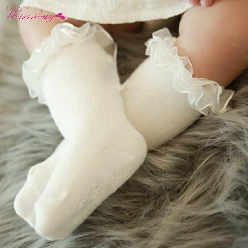 Baby Girls Lovely Soft Cotton Socks Kids Knee High Lace Child Hosiery Warm