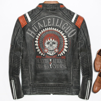 Men Vintage Cow Leather Jacket 3D Indian Skull Embroidery Motorcycle Jacket Fashion Spliced Pleated Collar Riding Biker Jackets