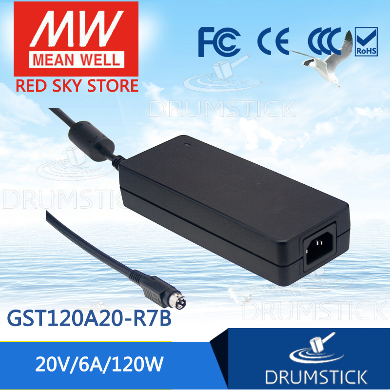 цена на (Only 11.11)MEAN WELL original GST120A20-R7B (2Pcs) 20V 6A meanwell GST120A 20V 120W AC-DC High Reliability Industrial Adaptor