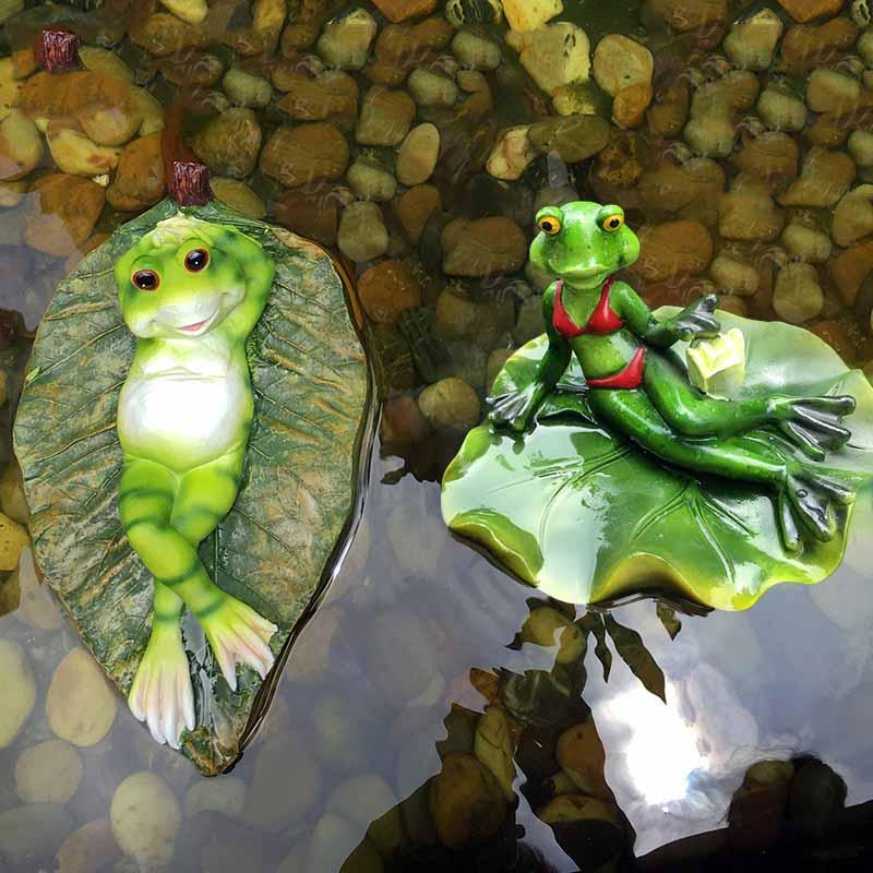 Décoration de jardin en plein air jardin créatif poissons étang décoration aménagement paysager flottant grenouille artisanat-in Figurines et miniatures from Maison & Animalerie    1