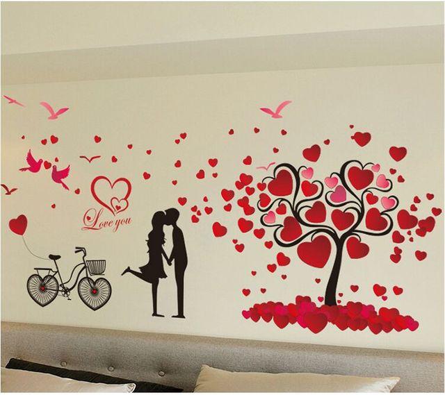 Kuss Sie Romantische Schöne Schlafzimmer Wandaufkleber Vogel Fahrrad Baum  Mode Wand Poster Warmes Zuhause Schöne Tapete