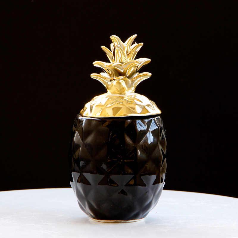 VILEAD 15.5 centimetri 20.5 centimetri In Ceramica Ananas Figurine Nero Ananas Bianco Scatola di Immagazzinaggio di Monili di Frutta Mestieri per la Decorazione Domestica