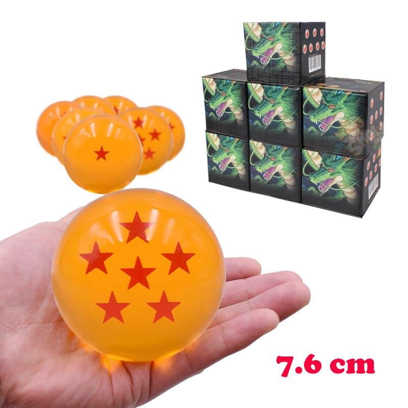 7 tamanho Anime Dragon Ball 7.6 centímetros Dragonball 1 2 3 4 5 6 7 Estrelas Crystal Ball Ação PVC figuras Modelo Boneca de Brinquedo de Presente de Natal
