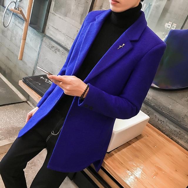 24% Шерстяное пальто Для мужчин средней длины теплая куртка Для мужчин s Шерсть Тренч Abrigo Largo Hombre зимнее пальто Slim Fit Для мужчин синий черный серый пальто