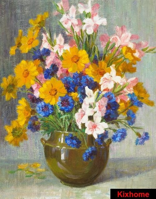 Still Life Flowers In A Copper Vase 100 Hand Painted Oil Paintings