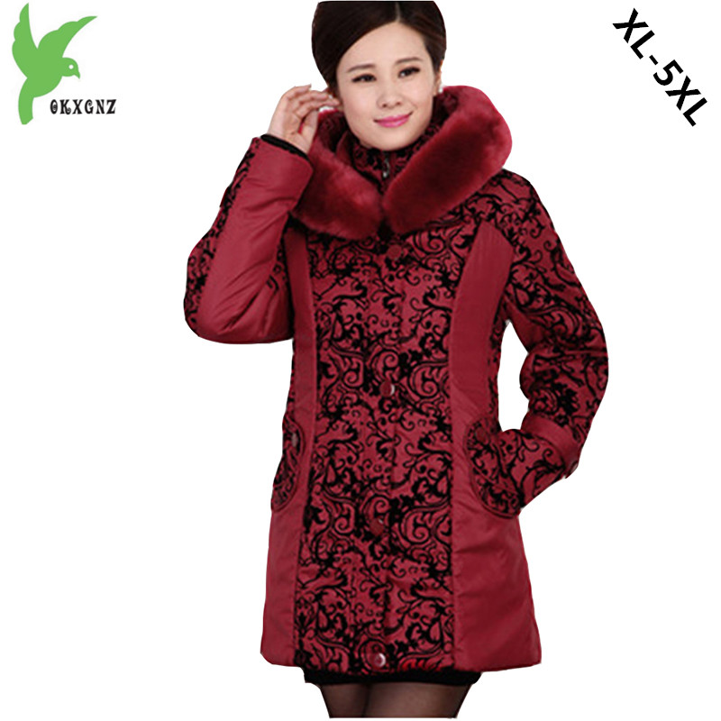 New Winter Middle aged Women Cotton Jacket Hooded Fur Collar Thicker Keep Warm Mother Casual Tops Plus Size Coat 5XL OKXGNZ A753 winter women s cotton coats solid color hooded casual tops outerwear plus size thicker keep warm jacket fashion slim okxgnz a712