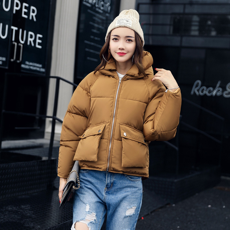 Jackets & Coats Thick Short Bread Padded Cotton Light Duck Coat Plus Size Bat Sleeve Solid Warm Jacket Loose Parkas Kawaii Korean Hooded Outfit Parkas