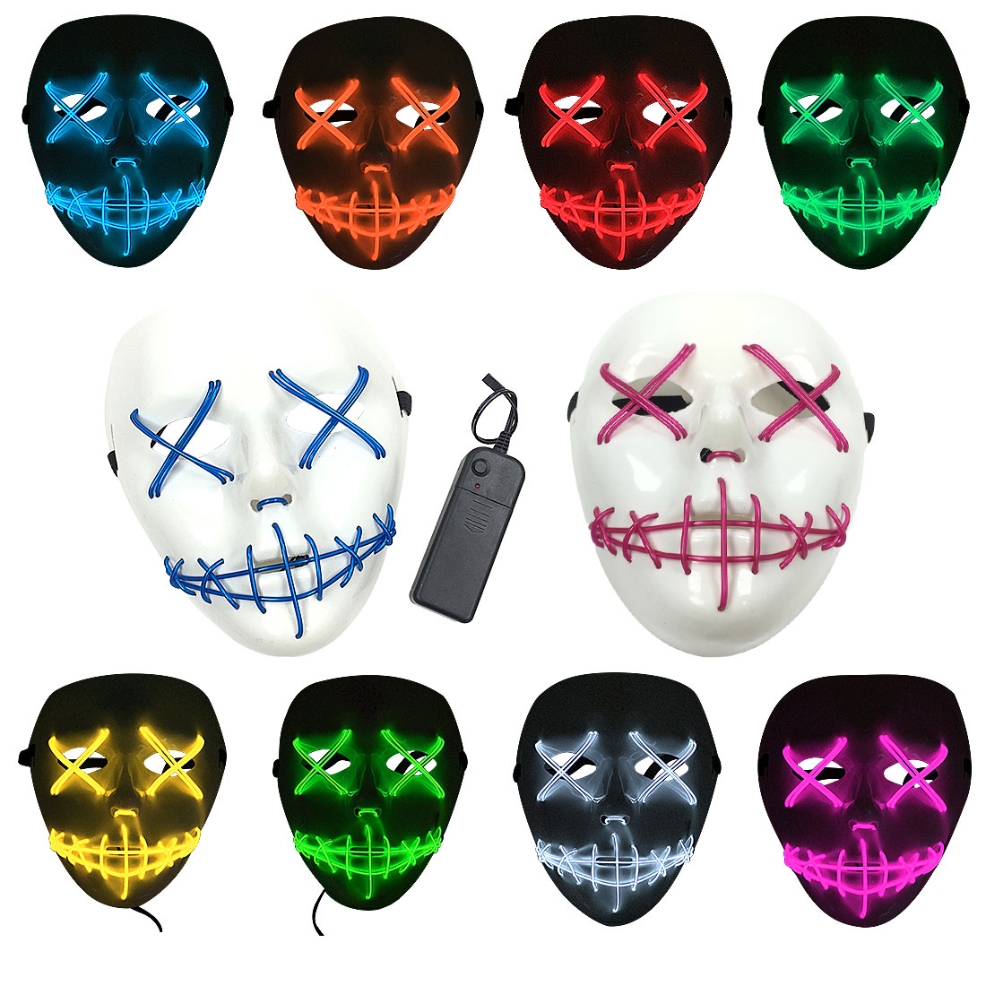 cut rate led halloween mask light up funny masks the purge election
