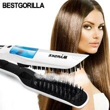 New Original Escova Alisadora Fast Electric Smooth Brush Ceramic Hair Straightener Comb steam Flat Iron With LCD Straight Brush