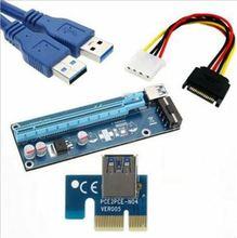 2 قطعة Riser pci-e 1x إلى 16x التعدين خاص محول موسع الناهض محول بطاقة SATA 15 دبوس ذكر إلى 6 دبوس كابل الطاقة USB3.0