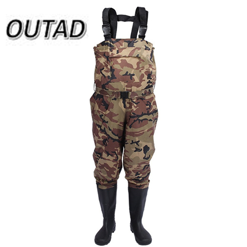 New Camouflage Thicker Waterproof Fishing Boots Pants Breathable Chest Wading Farming Overalls for Outdoor Fishing Waders sizes 39 45 size pvc fishing waders footwear for fishing trango breathable rubber boots overalls waterproof fishing shoes fo22