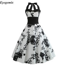 Summer Dress 2019 Casual Floral 50s 60s Retro Vintage Dress Women Robe Rockabilly Swing Pinup Vestido Sexy Elegant Party Dresses(China)