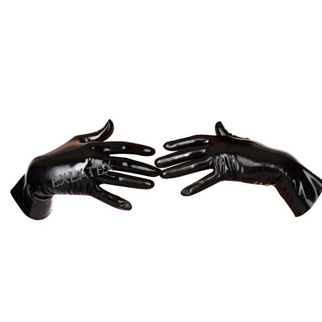 Latex Gloves Unisex Gloves Short Latex Gloves Latex Rubber Mixed Toe Wrist Gloves Fetish Costume Female Mittens