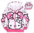 Retail 2015New Baby Girls Spring Autumn Coat 100% Cotton Kids Hello Kitty  Jackets Coats Hoodie Children Outerwear Free Shipping