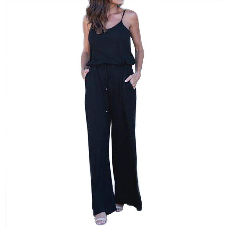 175d077e244 Summer Spaghetti Strap Jumpsuits New Women Rompers Red Casual Jumpsuit  Female Overalls Loose Wide Leg Long Pants 2XL Plus Size