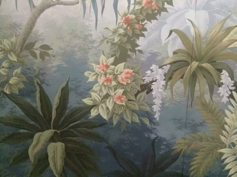 Customized Elegant western paintings Hand-painted wallpaper painting scenery wallcovering many patterns and background optional customized home personalized seamless integration of the abstract paintings lotus wallpaper 1x3m