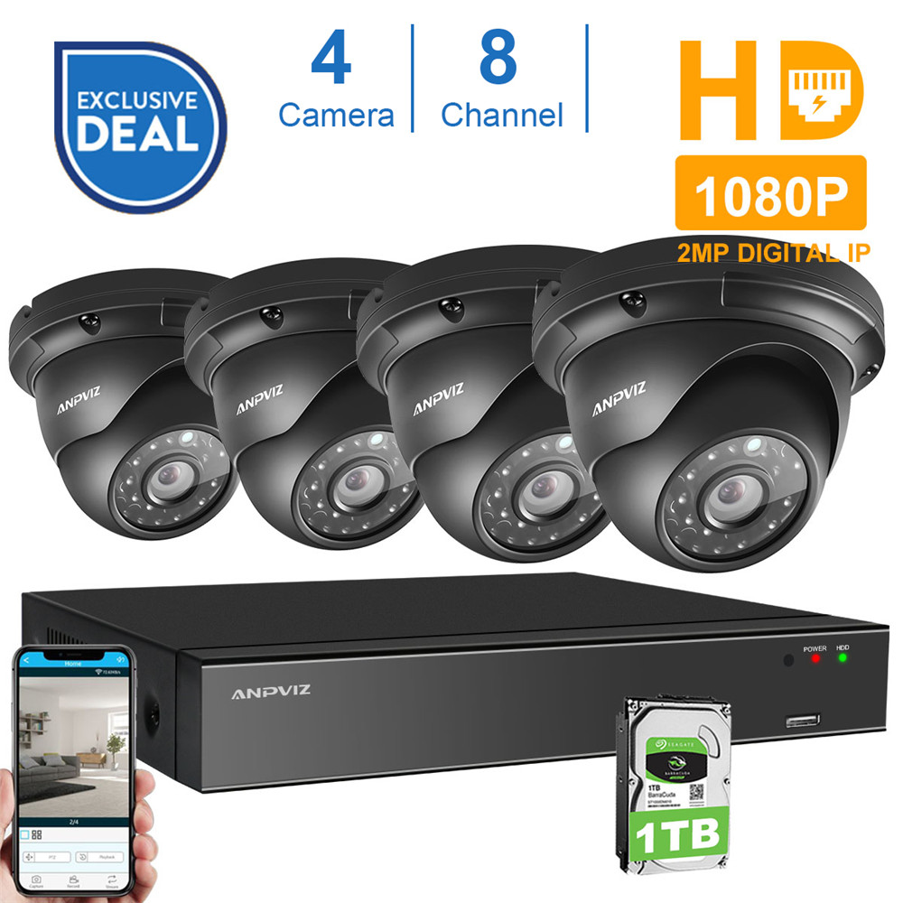 8CH 1080P POE NVR Kit CCTV Security System 4PCS 2.0MP Vandalproof Dome Indoor Outdoor IP Camera P2P Video Surveillance System