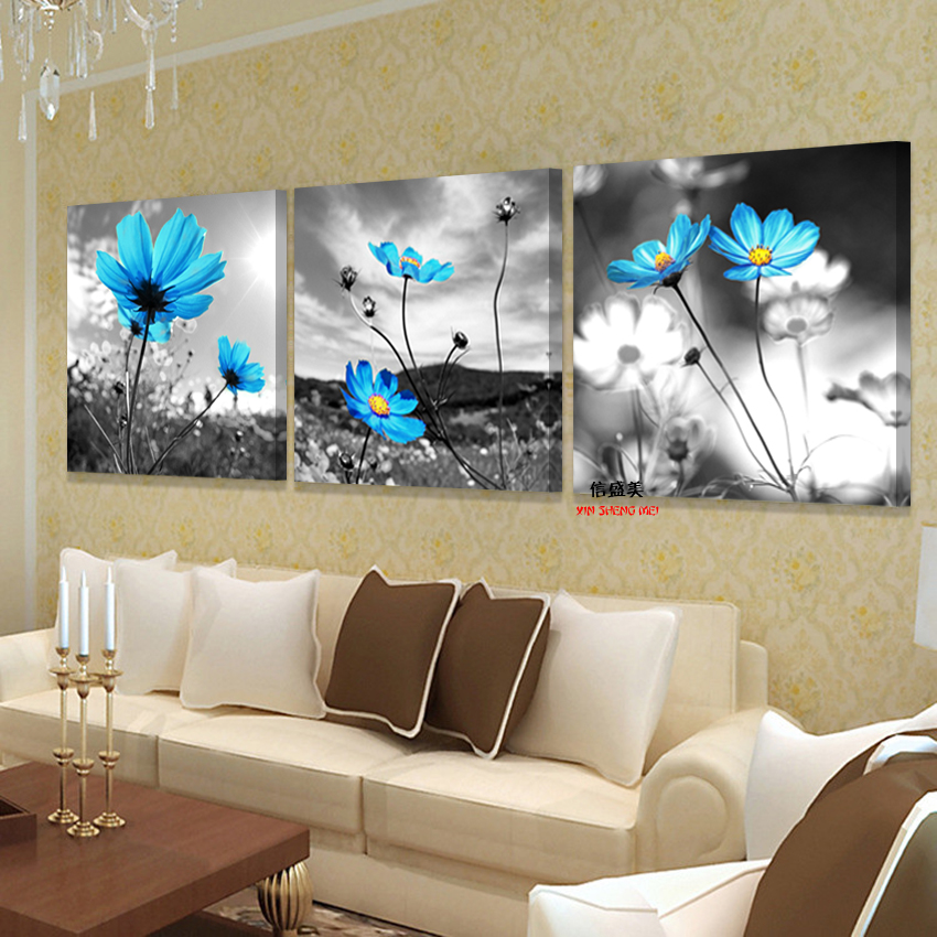 Flowers Painting Pictures 3piece Art Wall-Modular No-Frame Living-Room Modern Canvas