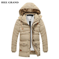 HEE GRAND Men's Thick Coat 2018 New Arrival Fashion Style Special Pockets Design Stand Collar Winter Parkas Warm Hooded MWM1332