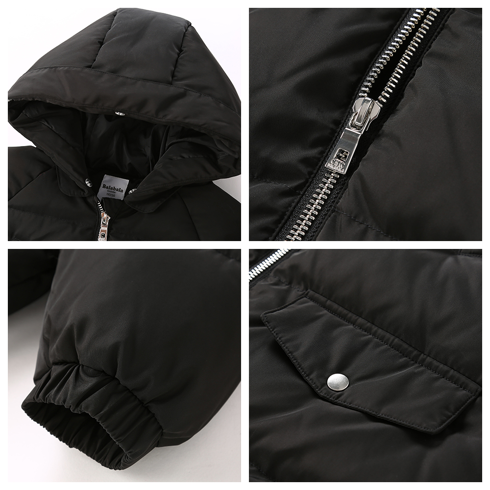 Balabala -20 degree Baby Boy Jacket Winter wool Thicken Kids Girls Autumn Outerwear Hooded Warm Children Coats Clothes For 2-6Y